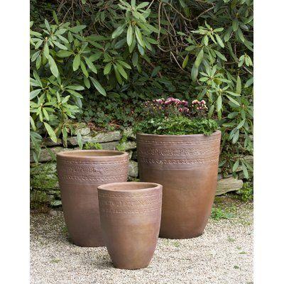 Sari 3 Piece Terracotta Pot Planter Set Color Asian Earthenware Planters Large Ceramic Planters Planter Pots