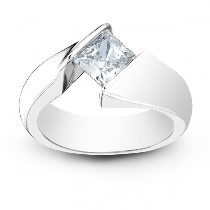 Platinum Tension Engagement Ring Setting by Sareen Jewelry