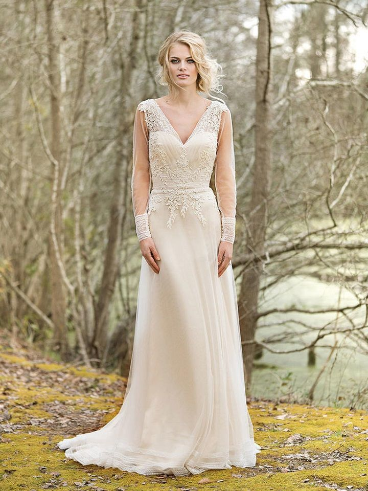V-Neck Gown with Illusion Long Sleeves and Lace Back | itakeyou.co.uk #weddinggown #weddingdress #weddingdresses