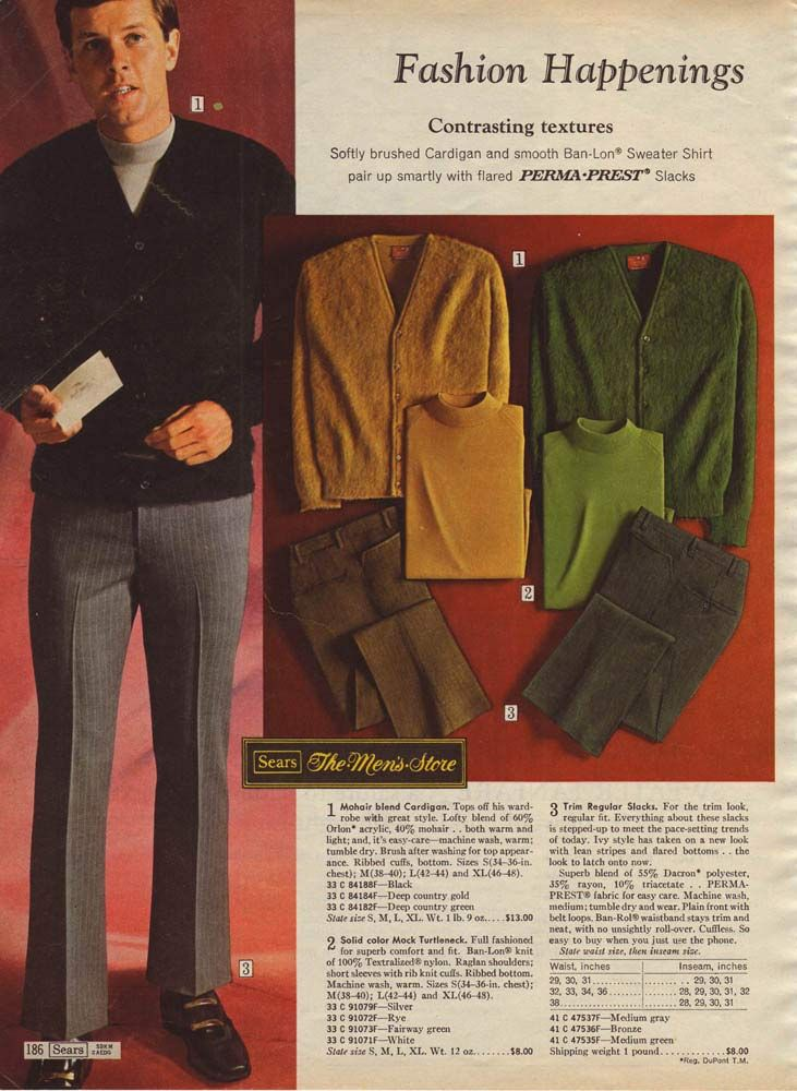 20e067ca8a Vintage Men's Fashion from a 1969 catalog. | 1960s: Men's Fashion ...