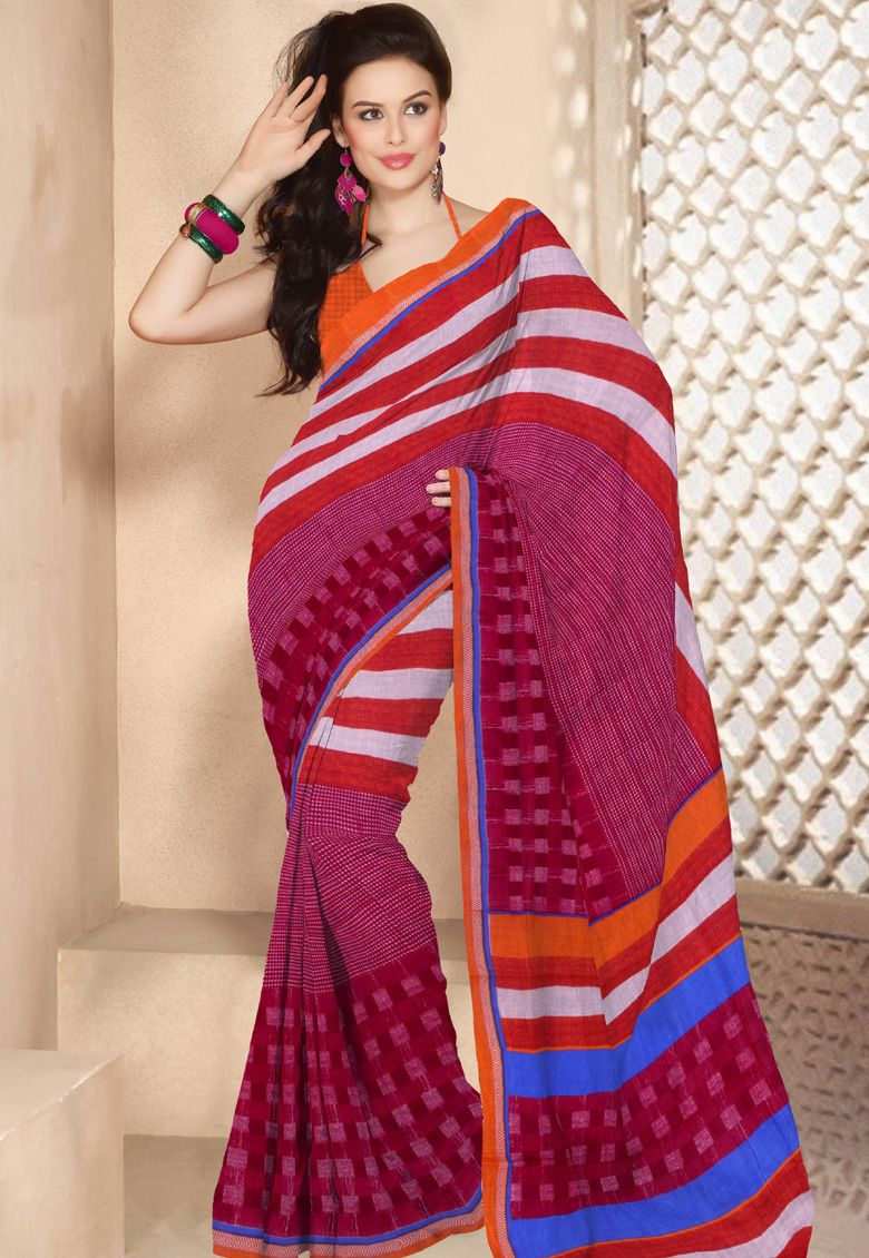 #Pretty Pink!!!  #Pink Cotton Saree designed with Printed Work. As shown Orange Cotton Blouse fabric is available which can be customized as per requirements  INR 605.60 Only With An Exclusive Discount Shop Now@ http://tinyurl.com/prbjuuj