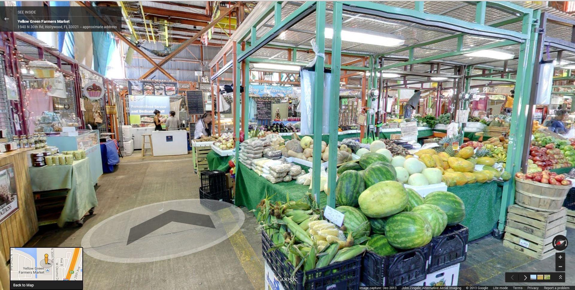 Take A Virtual Tour Of The Farmers Market On Google Maps Street View Farmers Market Maps Street View Hollywood Florida