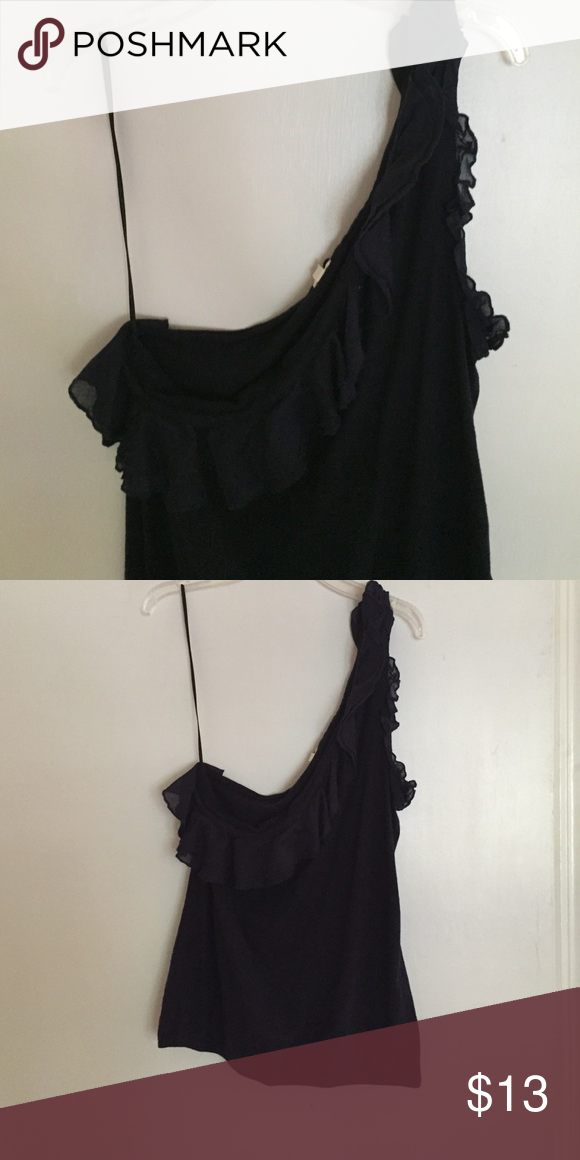 jcrew navy one shoulder top with ruffle shoulder never worn navy top with one shoulder, ruffle. sinched bottom giving it more shape. cotton top J. Crew Tops