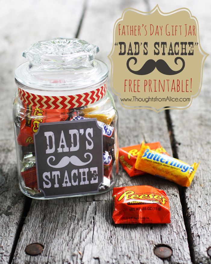 """Father's Day Gift Jar: """"Dad's Stache"""" Free Printable"""
