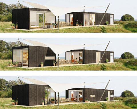 architecture, tiny modular home with brown design comfortable home