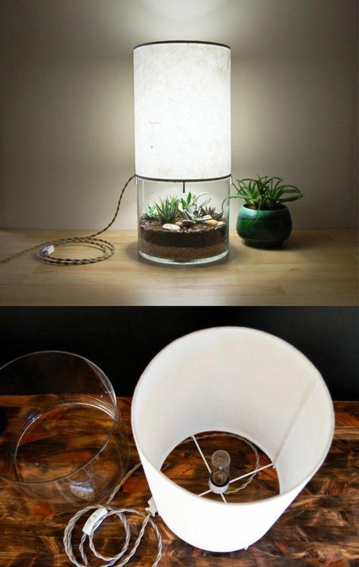 Diy Lampe Weiser Lampenschirm Grunen Blumentopf Pflanzen Diy Lampen Lampen Selber Machen Deko Bastelprojekte