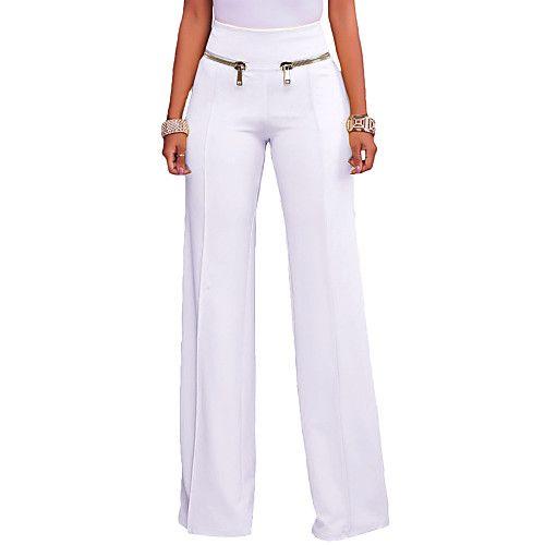 Mujer Casual Perneras anchas Pantalones - Un Color Blanco   Noche ... 48ba765a9fe7