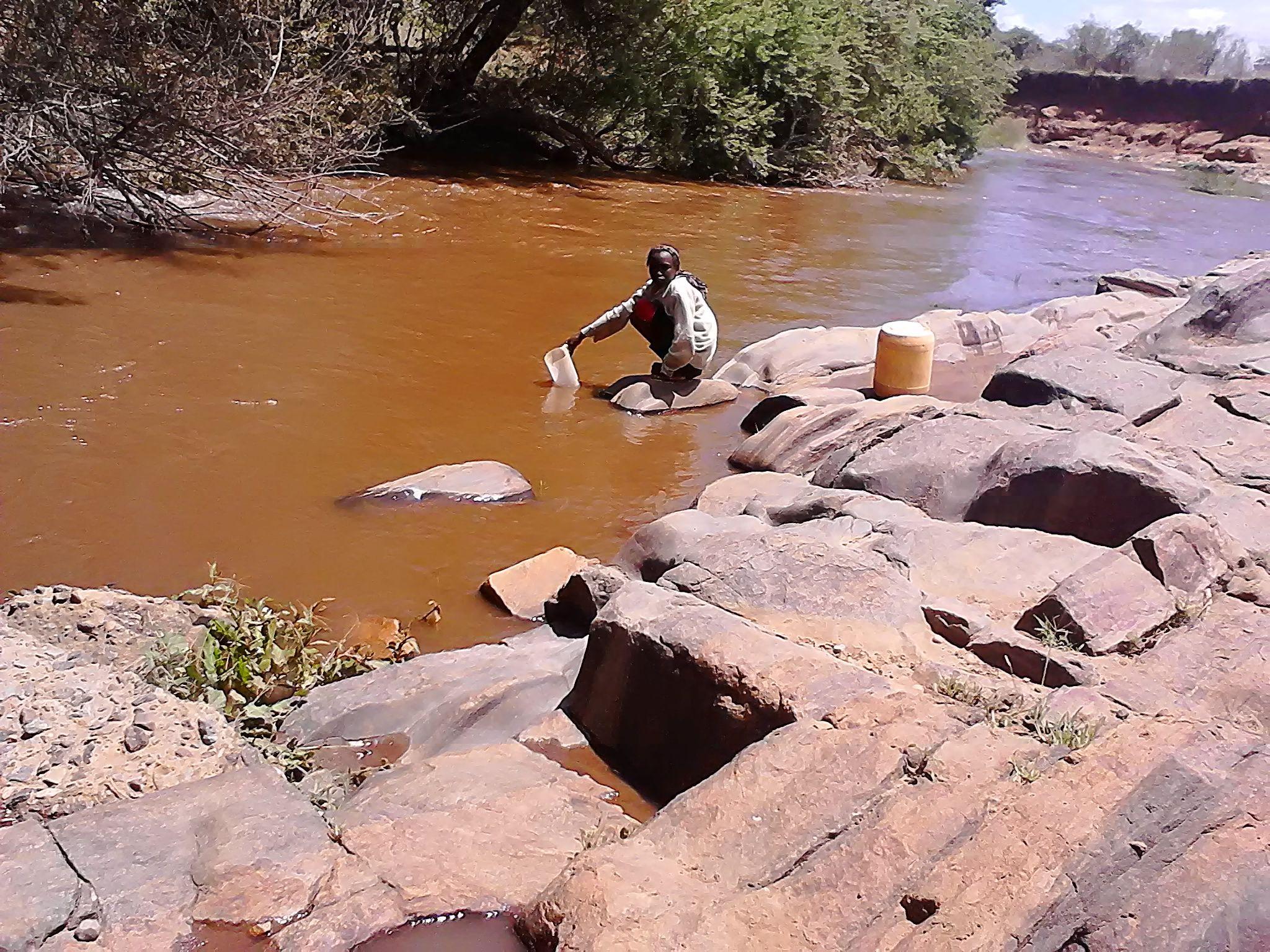 Nanyuki river in Ndigiri village water resource survey by Pragya Kenya water Africa