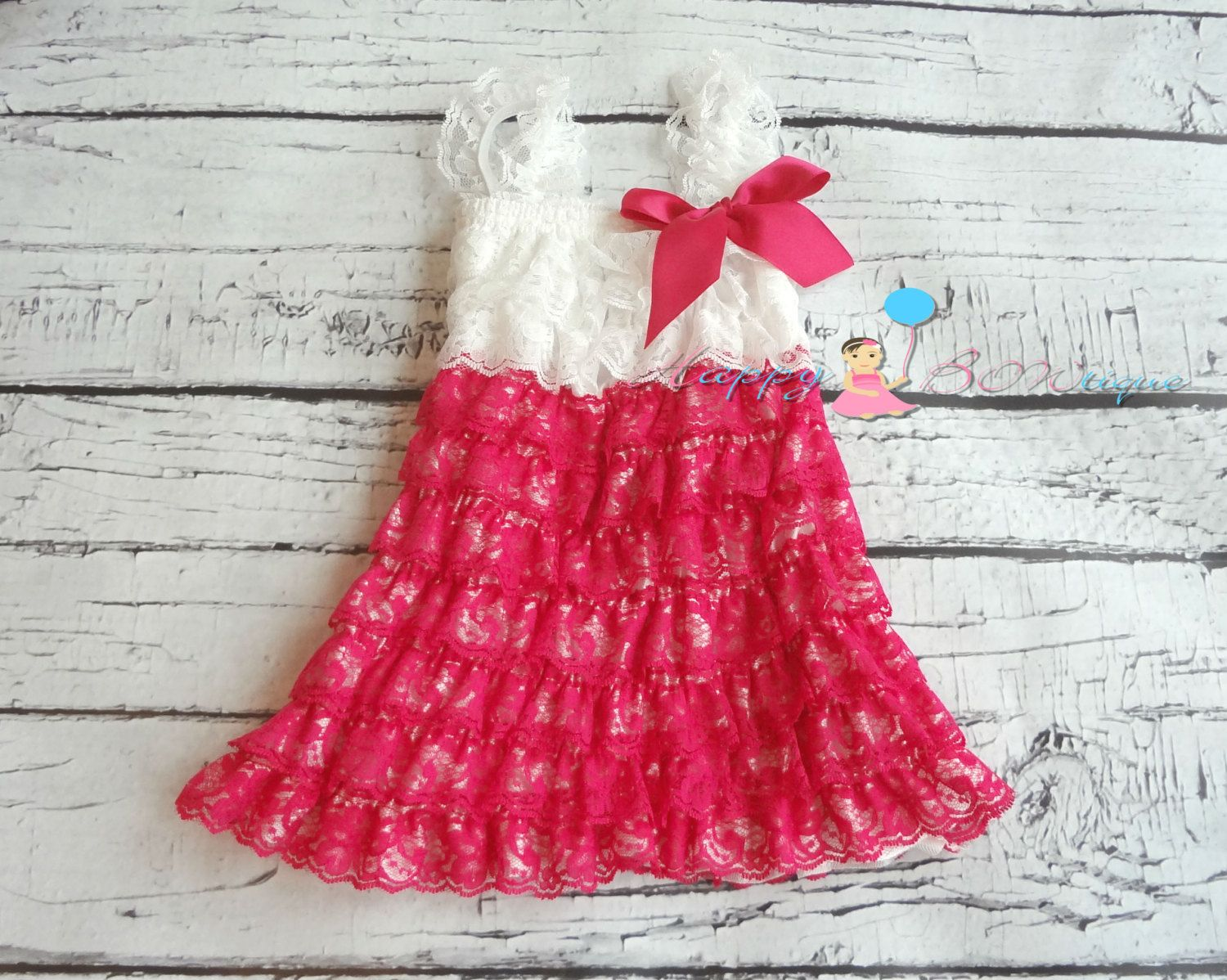 Hot Pink and White Lace Dress baby girls dress by HappyBOWtique, $26.99