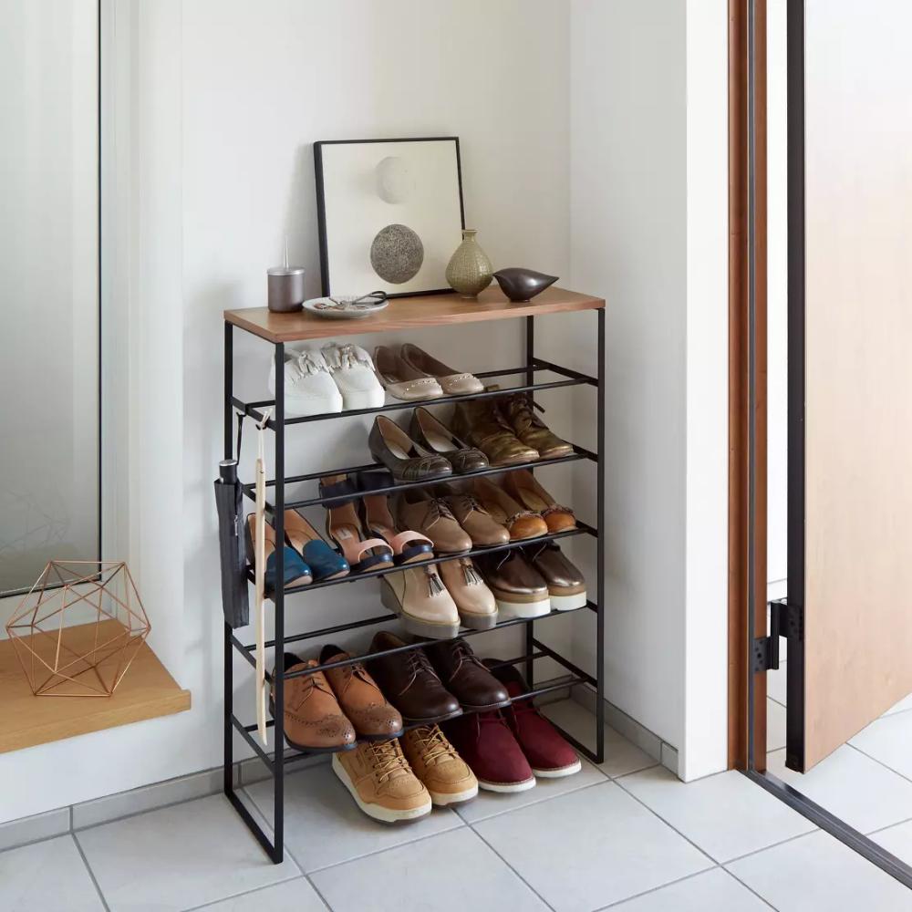 Rangement Pour Chaussures En Bois Et Metal Noir Tower Yamazaki Meuble Chaussure Etagere A Chaussures Diy Rangement Chaussures