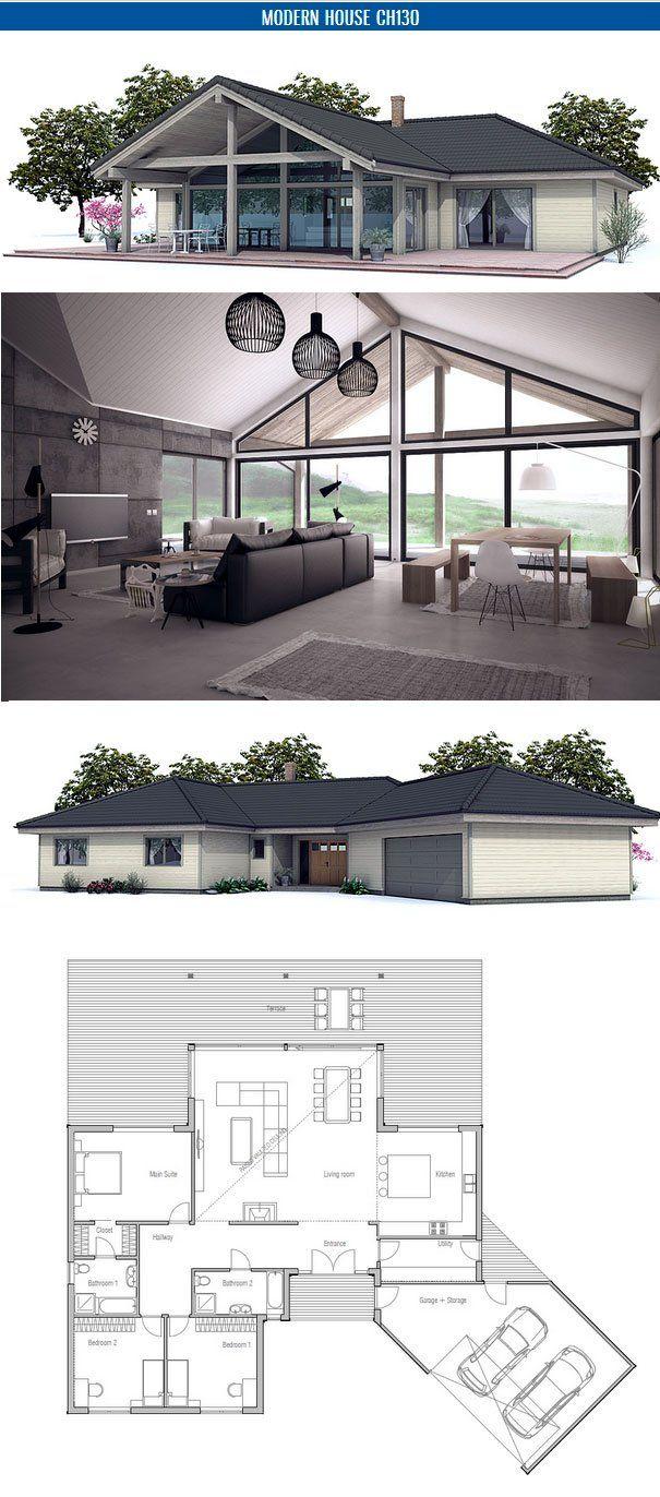 Modern House Ch130 House Plans Small House Floor Plans Building A House