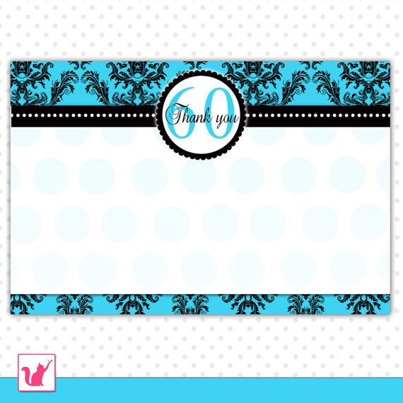 Printable Damask Turquoise Teal Blank 60th Birthday Thank You Card – Personalized Birthday Thank You Cards