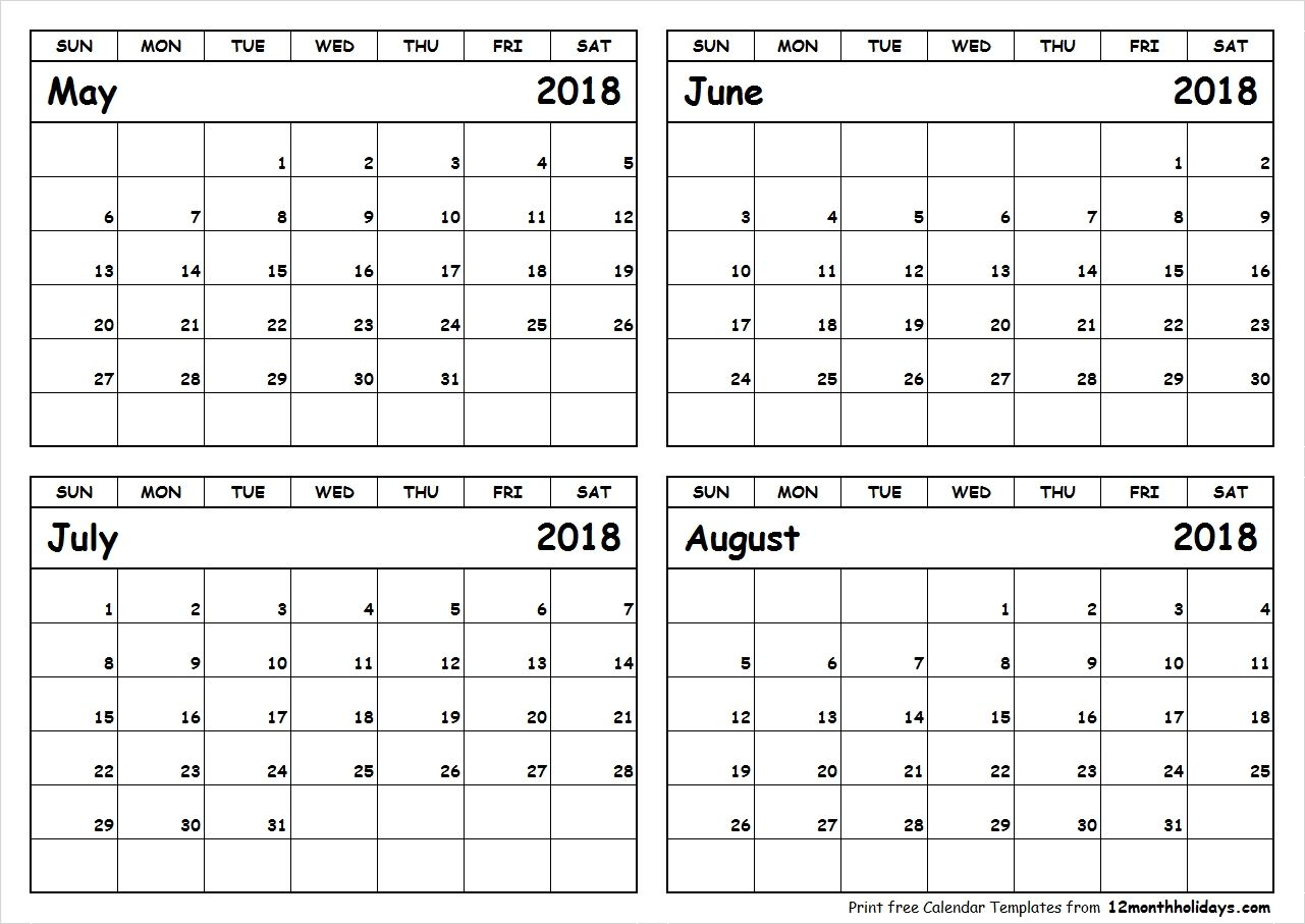 May June July August 2018 Calendar To Print All 12 Month