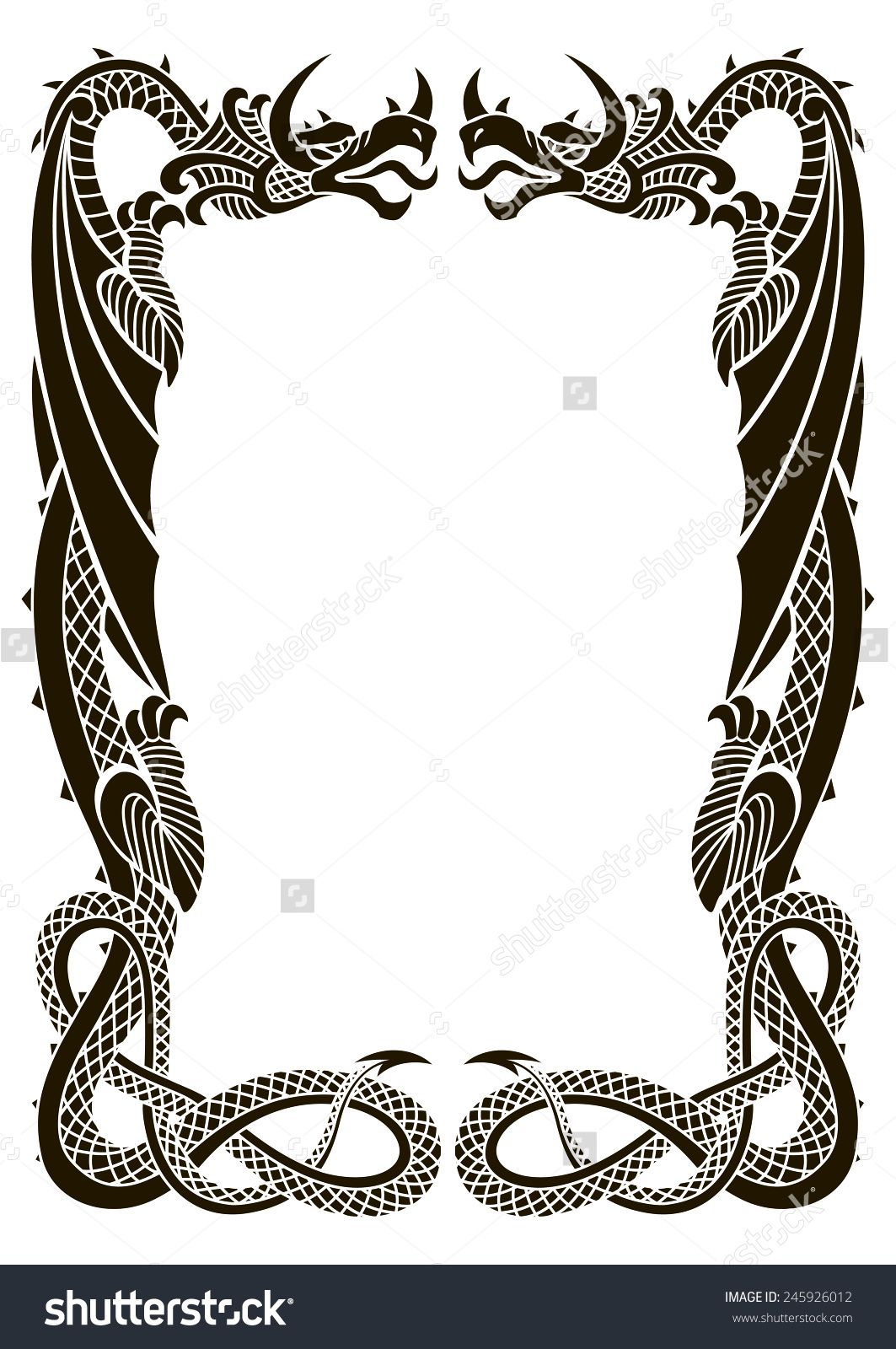 Dragons frame ornament isolated on white background in the ...