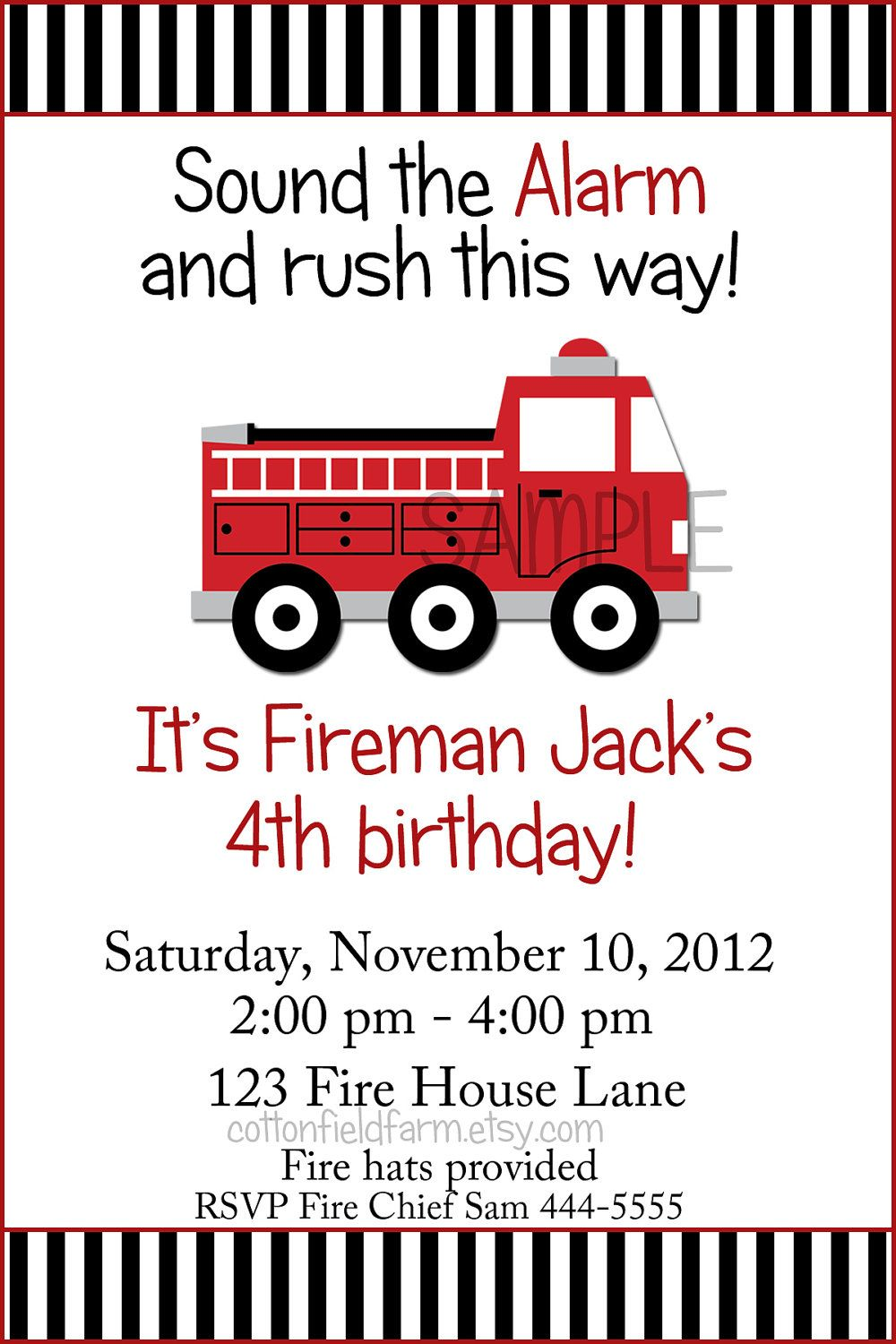 Little Red Fire Truck Birthday Party Invitation C 353 A Digital