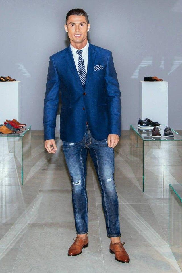 Cristiano Ronaldo wearing CR7 Tango Metal Blake Oxford, CR7 Slim Fit Shirt,  Sacoor Brothers