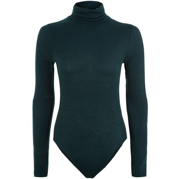 9bc6cc81 Dark Green Funnel Neck Long Sleeve Bodysuit ($16) ❤ liked on Polyvore  featuring intimates, shapewear, bodysuits and tops