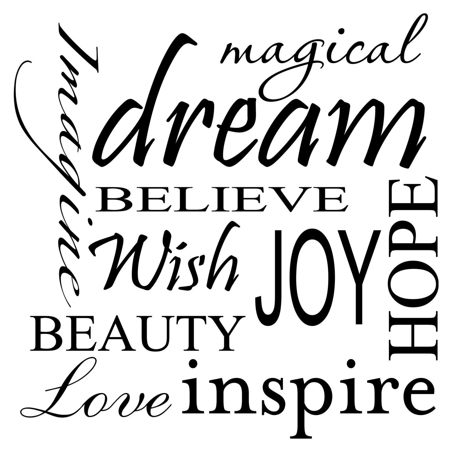 IMAGINE LOVE BEAUTY INSPIRE MAGICAL DREAM BELIEVE HOPE JOY WISH Vinyl wall lettering quotes and sayings