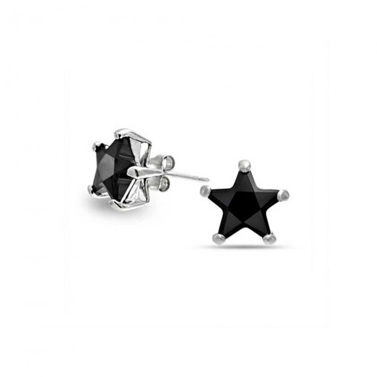 .925 Sterling Silver Clear CZ Shiny Star Stud Earring NEW