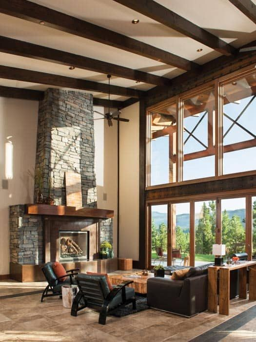 Rustic Modern Mountain Home With Images Log Home Interiors