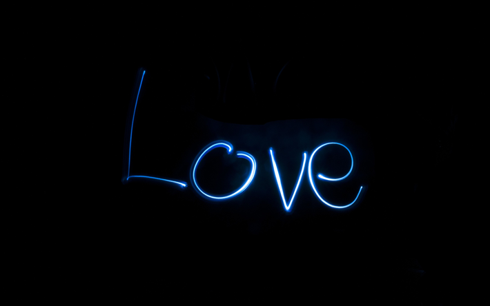 Download wallpapers 4k love neon letters darkness - I love you 4k ...