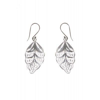 Filigree Leaf Drop Sterling Silver Earrings