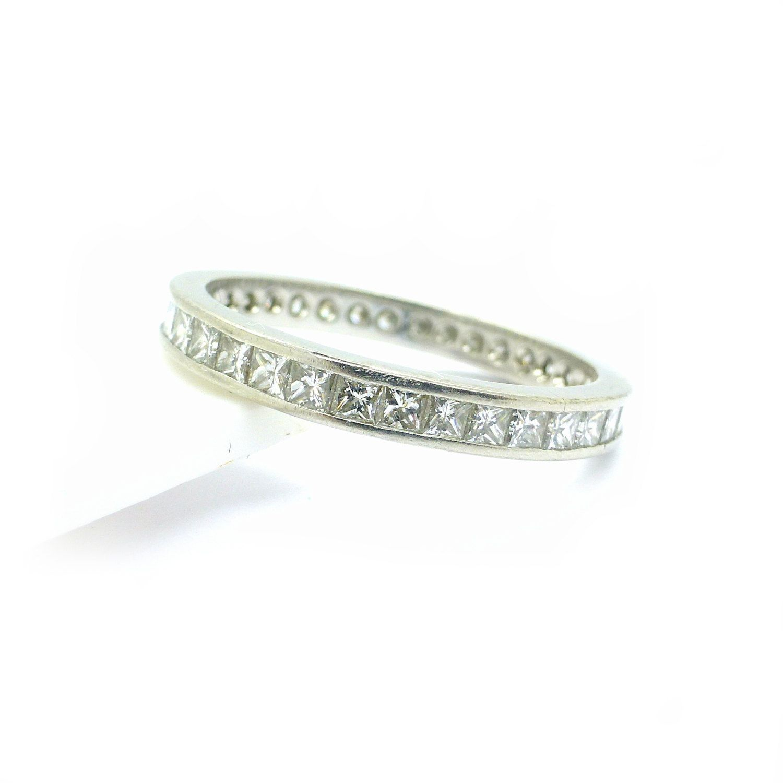 Vintage Estate Platinum diamond wedding band Princess square cut