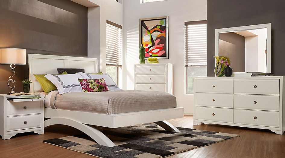 Belcourt White 5 Pc King Platform Bedroom with Sleigh Headboard from