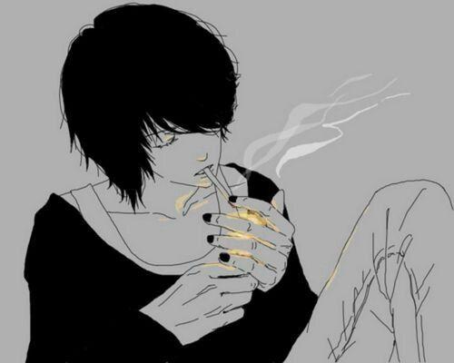 Manga Guy Smoking Light Cigarette