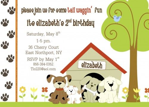 Puppy Dog Theme Birthday Party Invitations Personalized Printable