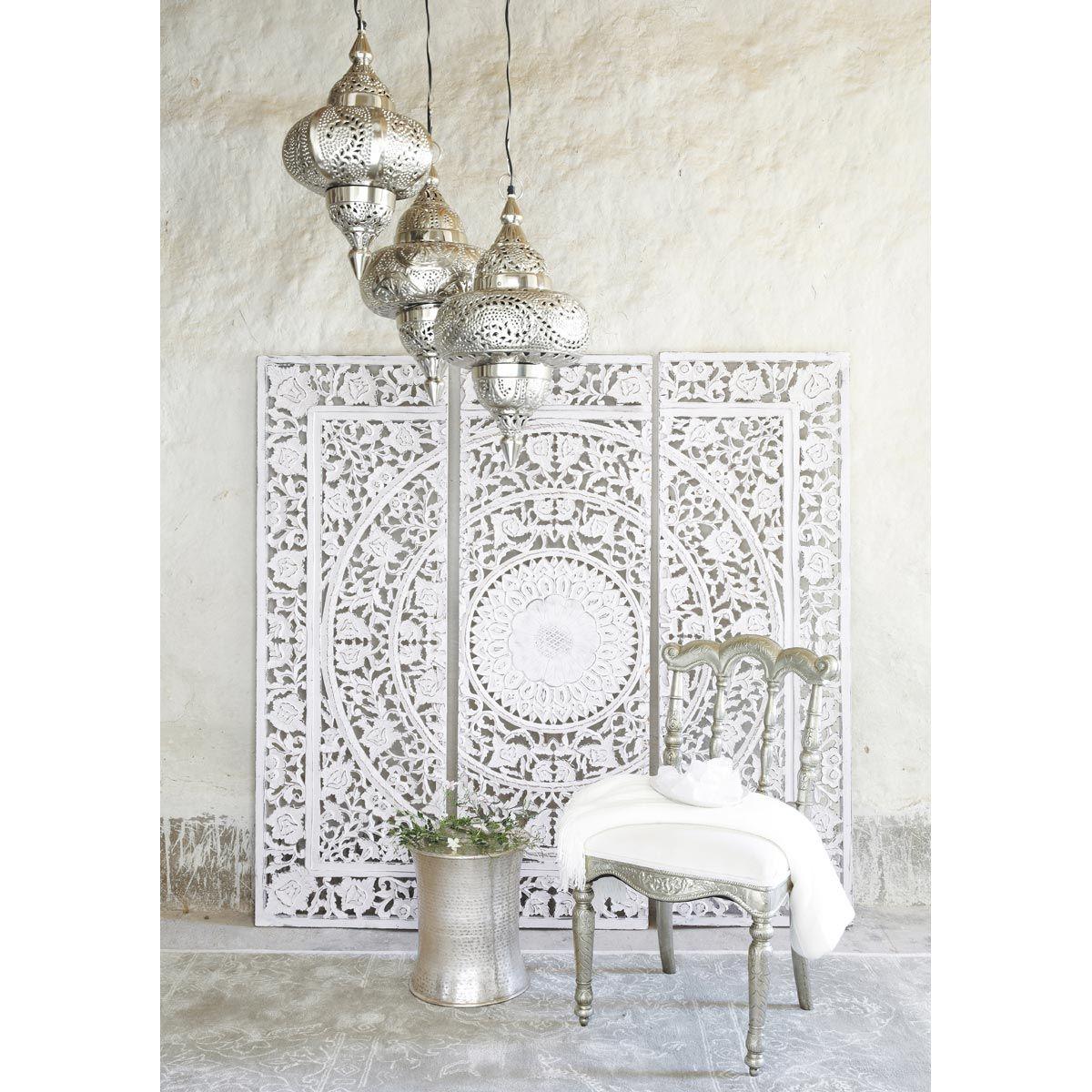Triptyque en bois blanc 150 x 150 cm ANDAMAN | Maisons du Monde ...