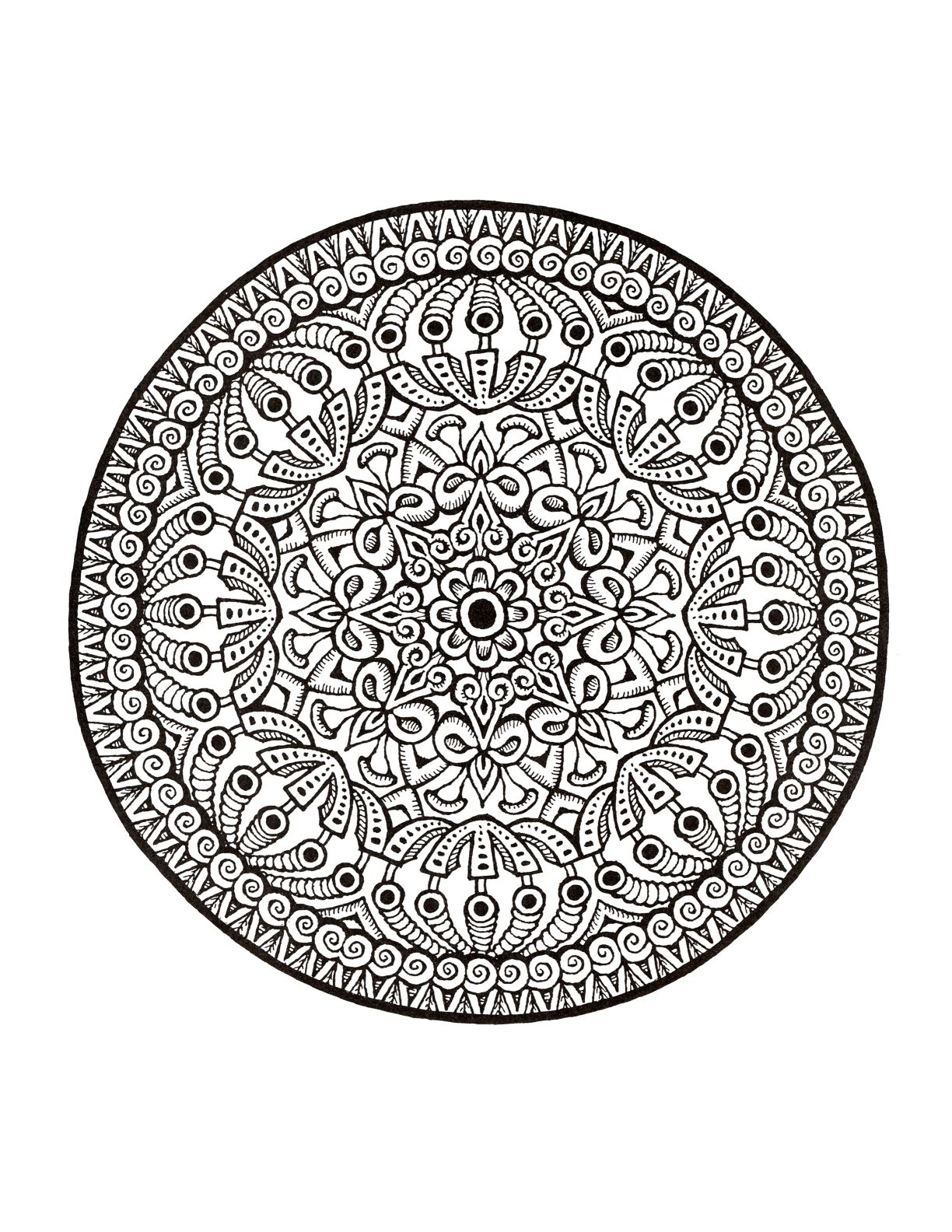 Mystical Mandala Coloring Book Completed Coloring Mandala