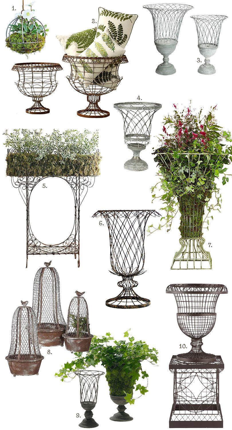 French Inspired Outdoor Wire Planters