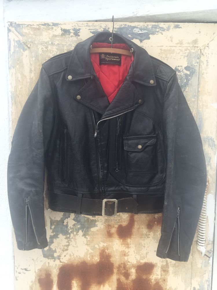 6eaa7af9e6c1 VINTAGE 1960s Sears OAKBROOK Leather Motorcycle Jacket 38 40 ...