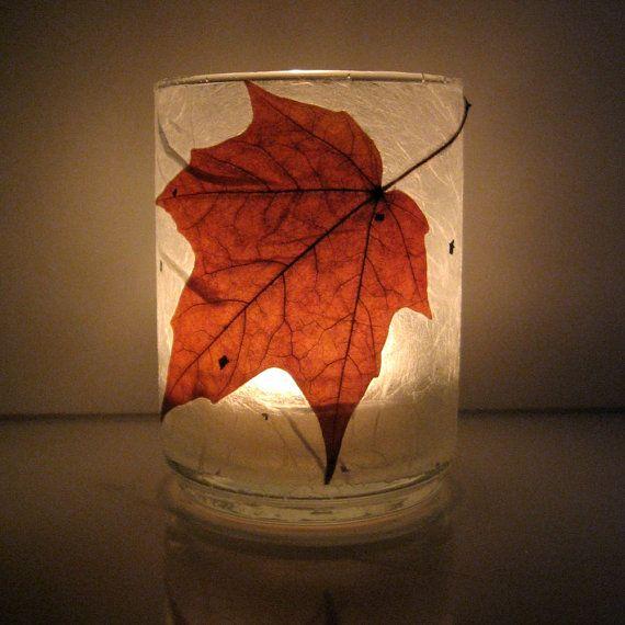 Autumn Leaf Votive Holder, handmade USA, www.kathysholiday.com