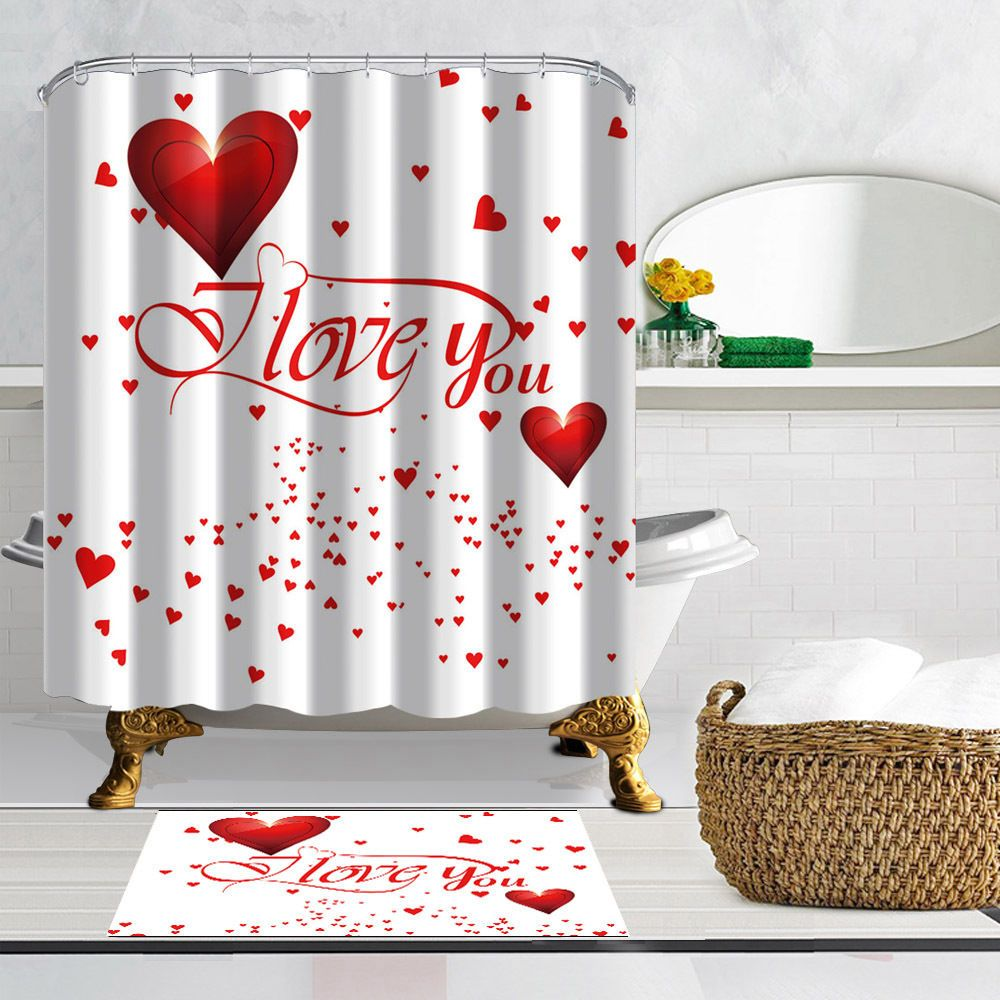 Valentine S Day Heart Shaped Pattern Fabric Shower Curtain