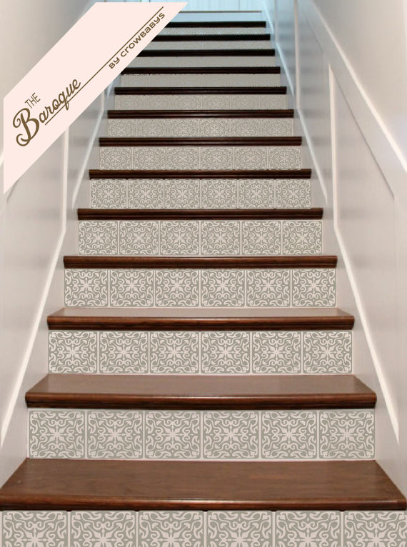 Ornate Vinyl Tile Decals For Stairs 3 Decals For Stair Riser   Tread Riser Staircase Design   Section   Concrete   Rcc   Marking   Metal