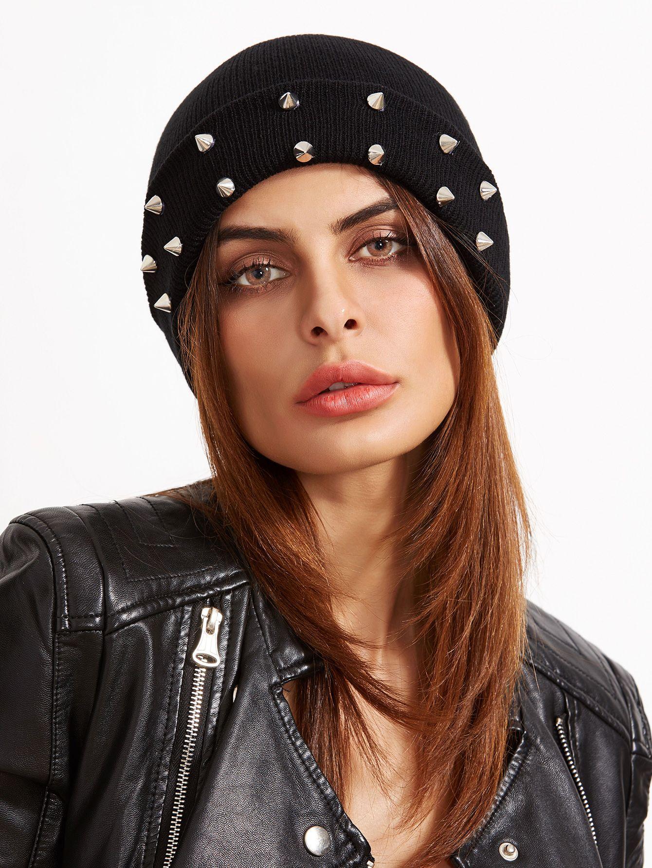 6a193bb5c9 Shop Black Spike Studded Knit Beanie Hat For Women online. SheIn offers  Black Spike Studded Knit Beanie Hat For Women & more to fit your  fashionable needs.