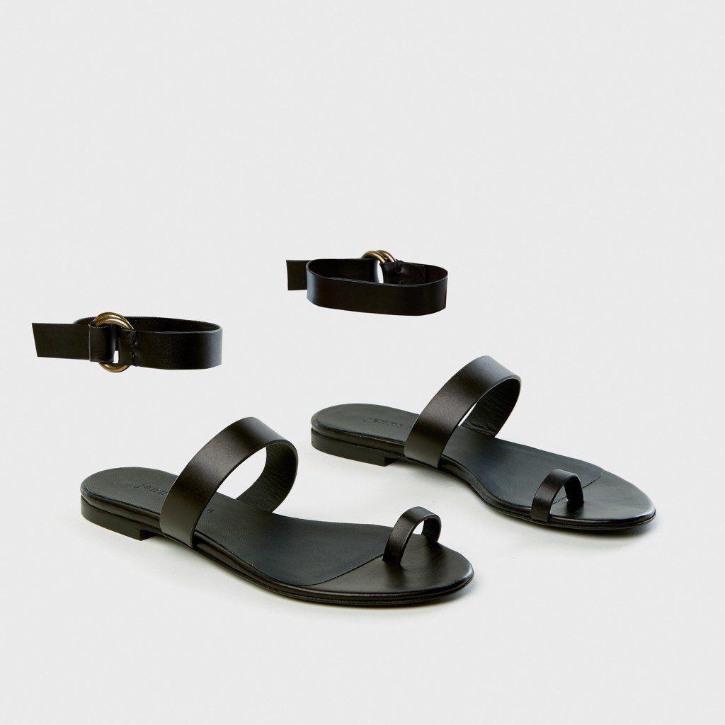 Leather Strap Sandal Black Jenni Kayne Black Sandals Toe Sandals Strap Sandals