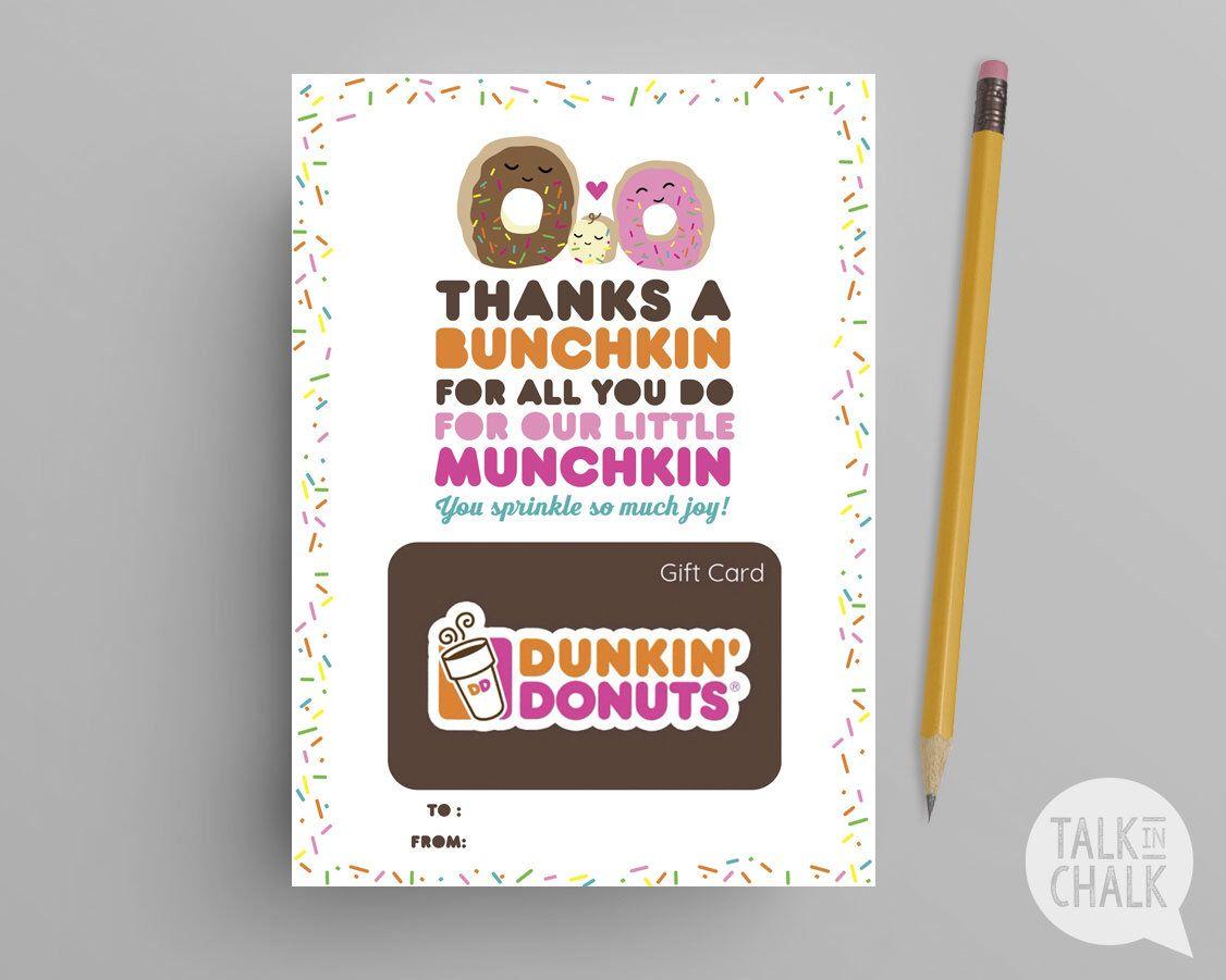 teacher appreciation gift dunkin donuts printable gift