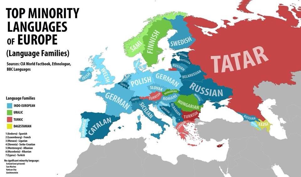 Top Minority Languages Of Europe Карты Pinterest Language - Russian language map