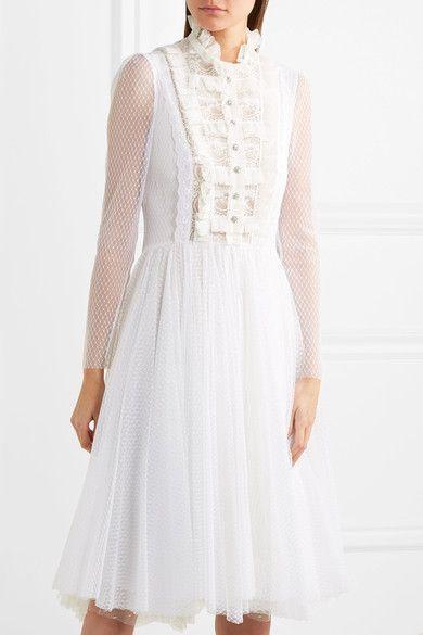 Ruffled Lace-paneled Polka-dot Tulle Midi Dress - White Philosophy di Lorenzo Serafini V20gdc0