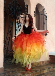 girl on fire red orange and yellow long full length adult formal prom rave tutu skirt - Fire Girl Halloween Costume