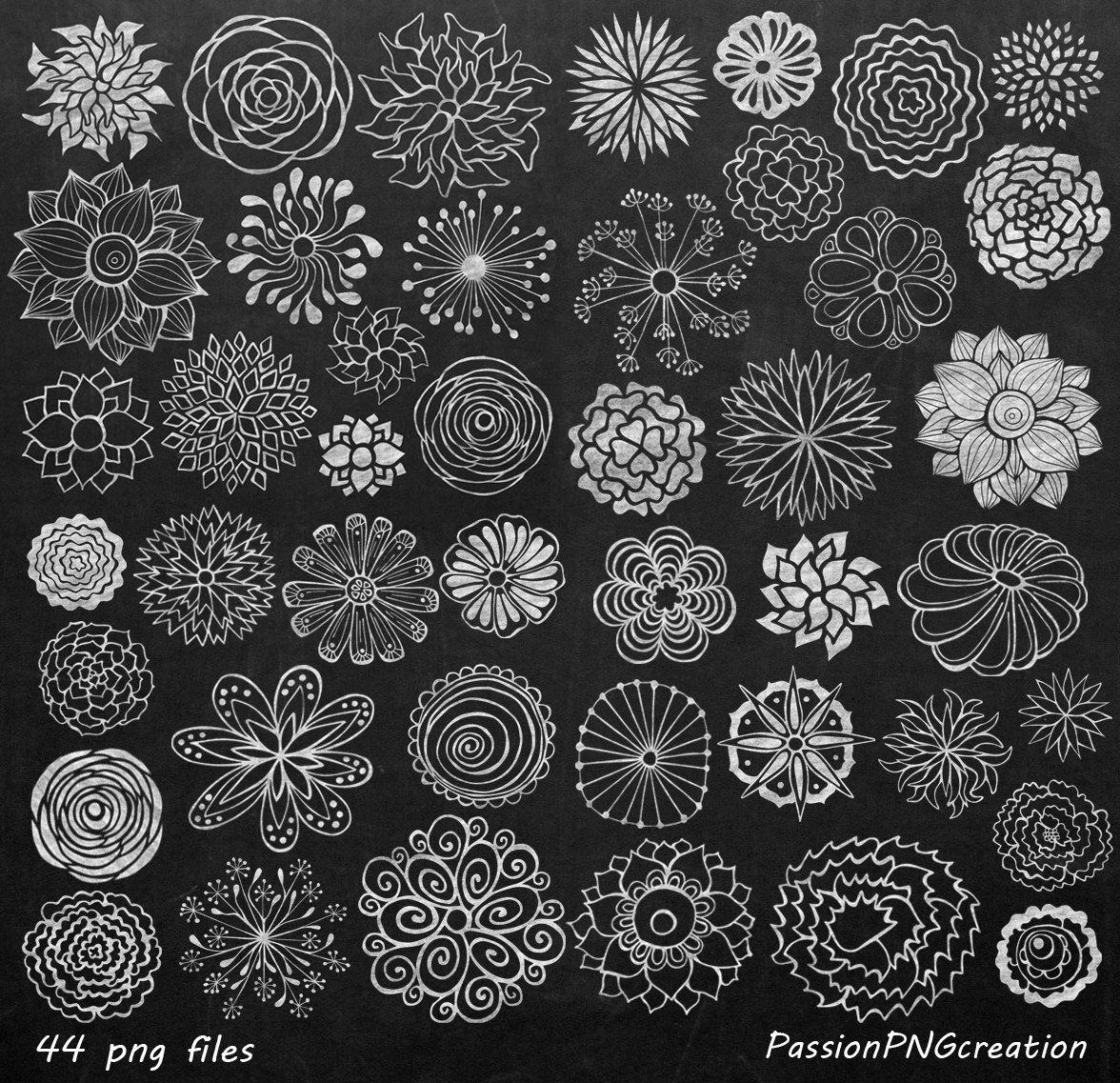 Big Set Chalkboard Flowers Clipart Hand Drawn