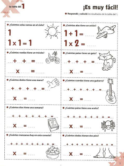 TE CUENTO UN CUENTO: Ejercicios de las tablas de multiplicar del 1, 2, 4, 6, y 10