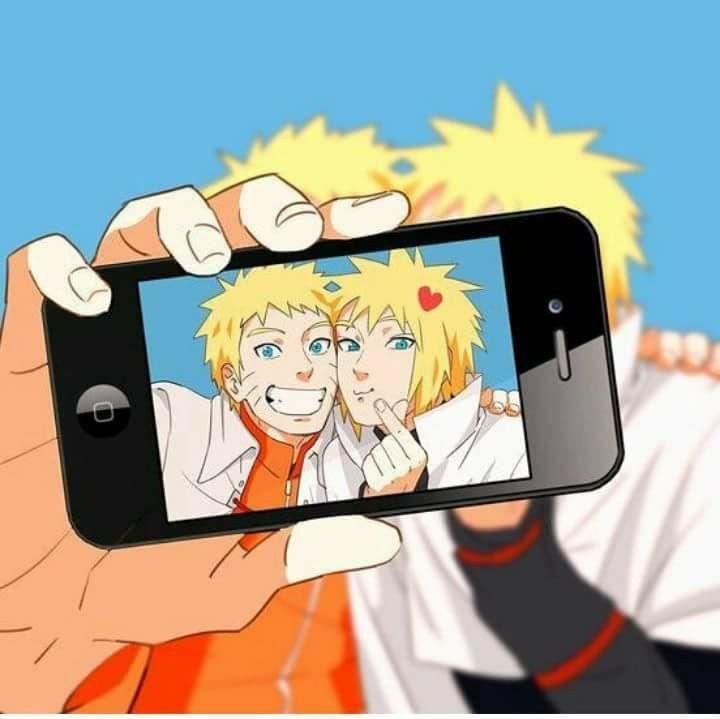 Naruto Uzumaki And Minato Namikaze Taking A Selfie