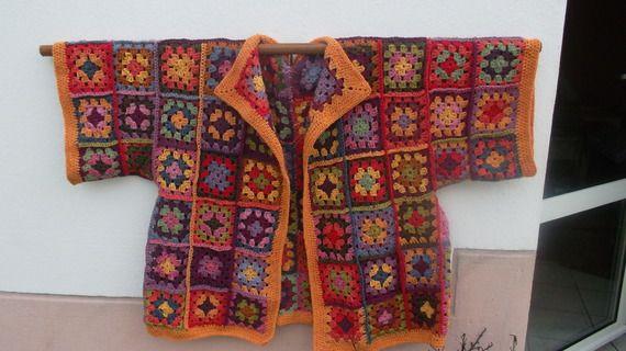 Veste crochet Granny Ecolo multicolore