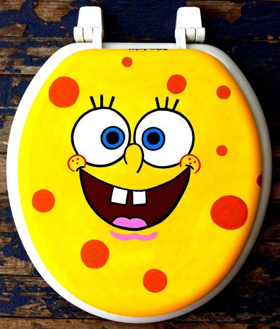 Sponge Bob Squarepants Hand Painted Toilet Seat Rock By Debbie Is