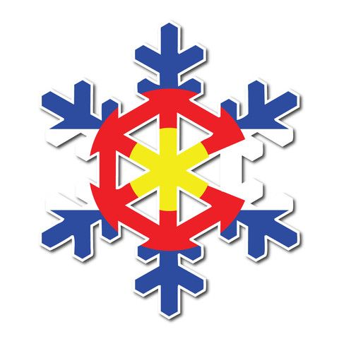 5 colorado flag snowflake decal