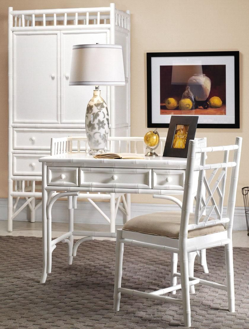 White painted bamboo furniture